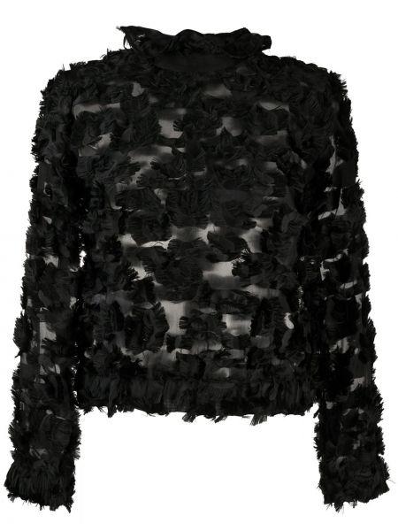 Шелковый черный топ с воротником Giorgio Armani