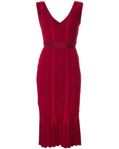Платье с V-образным вырезом - красное Herv Lger