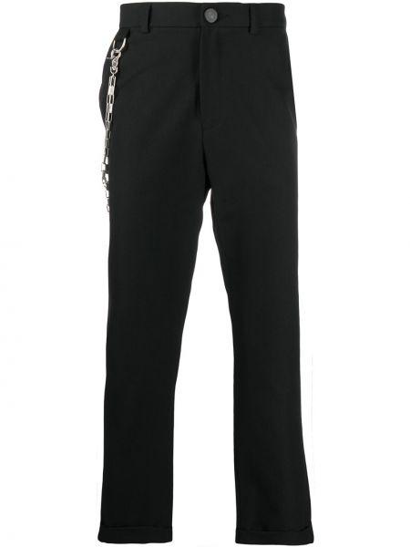 Шерстяные брючные черные укороченные брюки с поясом Andrea Ya'aqov