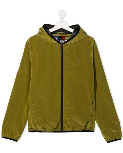 Желтая куртка с капюшоном на молнии Herno Kids