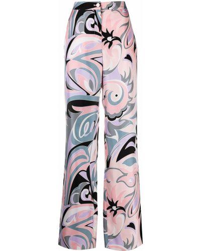 Розовые прямые с завышенной талией брюки Emilio Pucci