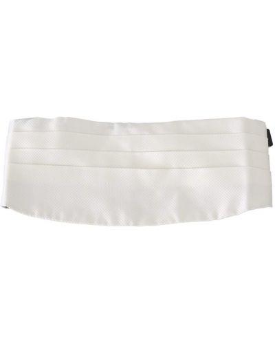 Biały pasek w paski z jedwabiu Dolce And Gabbana