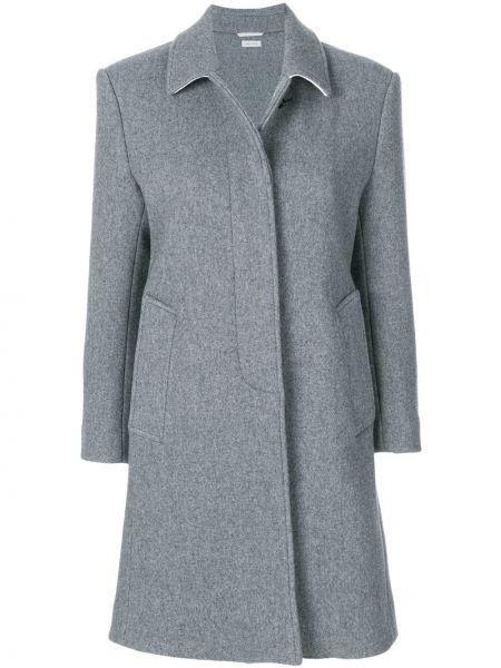 Серое шерстяное пальто классическое с воротником Thom Browne