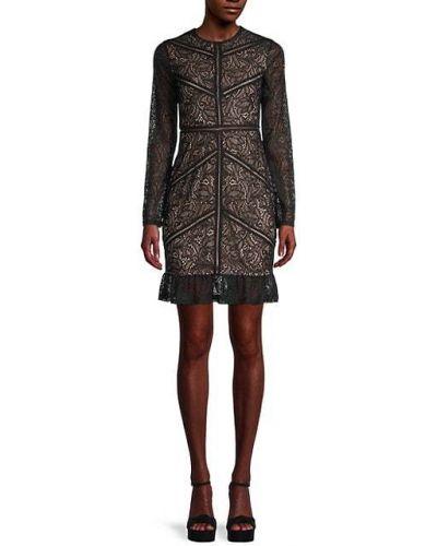 Кружевное черное платье макси с длинными рукавами Bardot