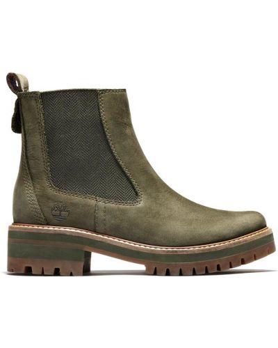 Кожаные ботинки челси - зеленые Timberland