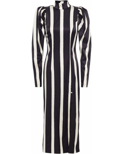 Satynowa czarna sukienka midi w paski Rotate Birger Christensen