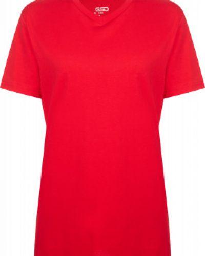 Приталенная хлопковая красная спортивная футболка Gsd