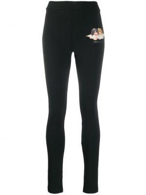 Czarne legginsy z wysokim stanem z printem Fiorucci