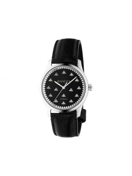 Czarny zegarek na skórzanym pasku skórzany Gucci