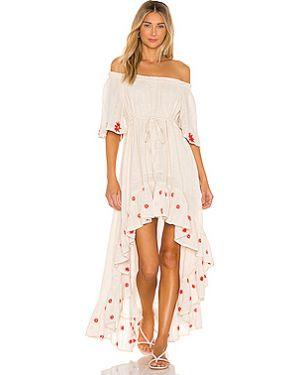 Платье макси с вырезом айвори эластичное Sundress