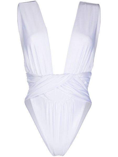 Слитный купальник белый с открытой спиной La Reveche