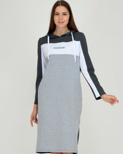 Прямое спортивное платье с капюшоном с надписью Viserdi
