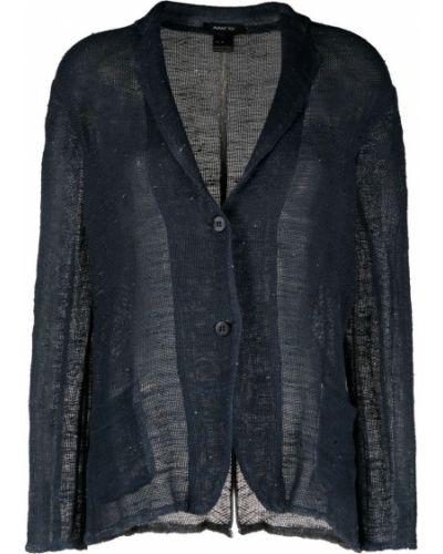 Льняной синий удлиненный пиджак с карманами Avant Toi