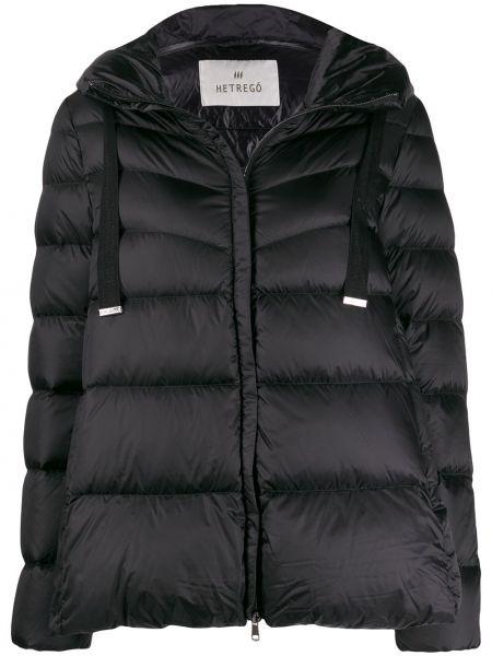 Куртка с капюшоном черная длинная Hetrego