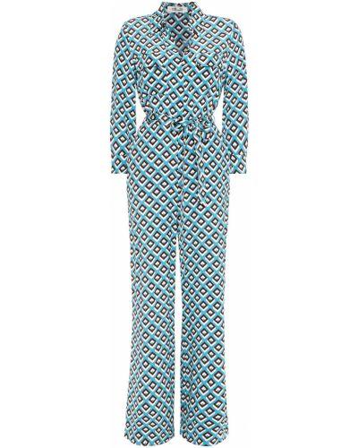 Kombinezon z jedwabiu turkusowy zapinane na guziki Diane Von Furstenberg