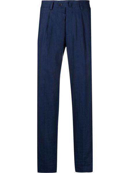 Niebieskie spodnie materiałowe z paskiem Mp Massimo Piombo