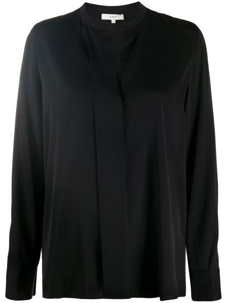 Шелковая черная длинная блузка с V-образным вырезом Vince.