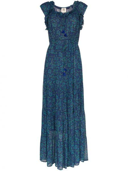 Niebieska sukienka długa z wiskozy w kwiaty Figue