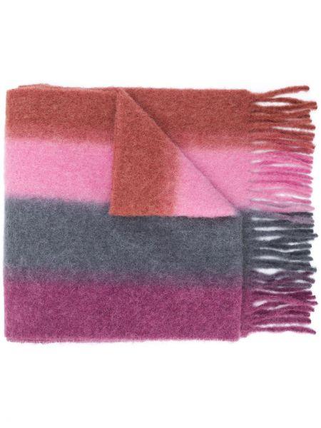 Różowy trykotowy szalik z moheru przycięte Acne Studios