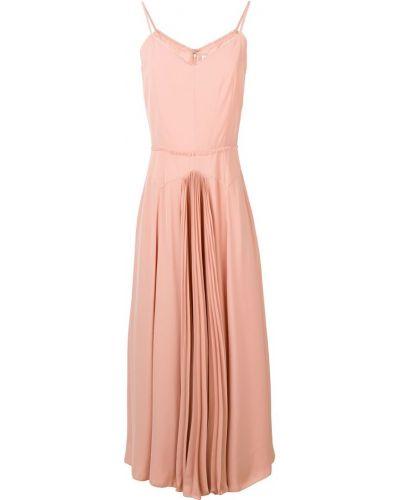 Приталенное розовое платье миди на бретелях на молнии Noon By Noor