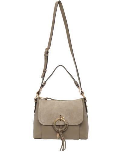 Skórzany torba kosmetyczna prążkowany z łatami See By Chloe