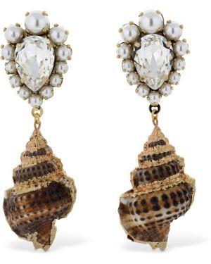 Szare złote kolczyki sztyfty pozłacane Bijoux De Famille