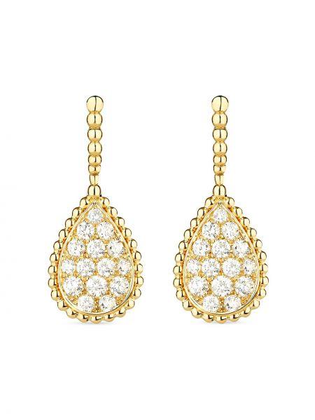 Żółte złote kolczyki sztyfty z diamentem Boucheron