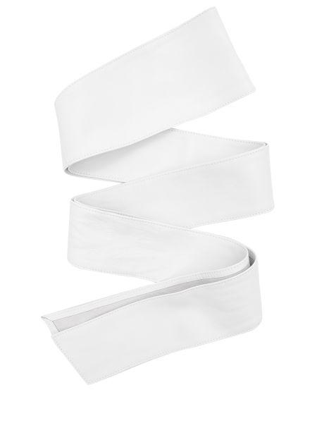 Кожаный белый широкий ремень свободного кроя с поясом Malo