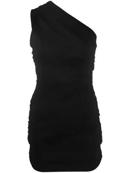 Черное платье на одно плечо с оборками узкого кроя Christian Pellizzari