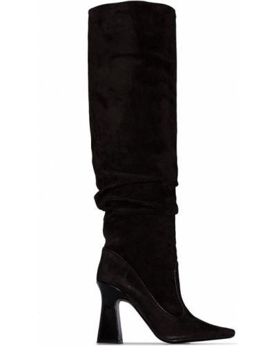 Деловые черные сапоги без каблука до середины колена круглые Fabrizio Viti