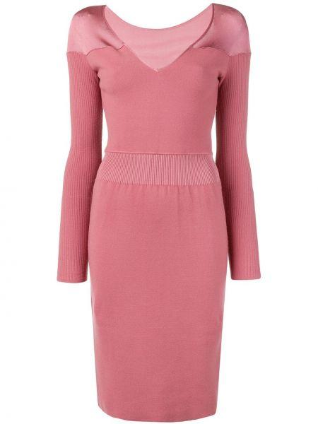 Розовое приталенное платье с V-образным вырезом винтажное Alaïa Pre-owned