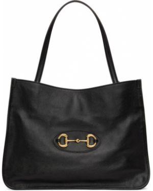 Brezentowy czarny torba na ramię z łatami prążkowany Gucci