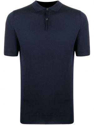 Синяя с рукавами рубашка с воротником John Smedley