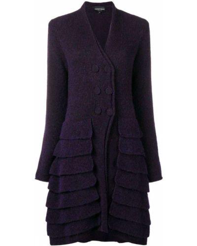 Фиолетовое шерстяное длинное пальто с капюшоном Giorgio Armani Pre-owned