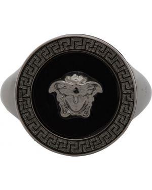 Pierścień czarny metal Versace
