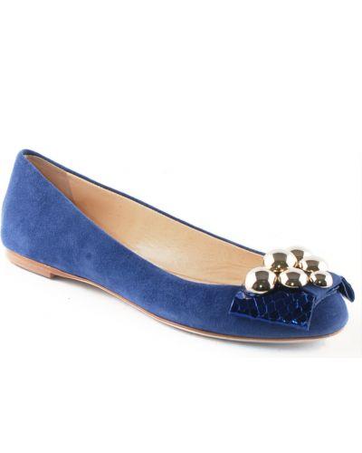 Кожаные балетки - синие Ballin