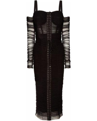 Платье миди коктейльное с оборками Dolce&gabbana