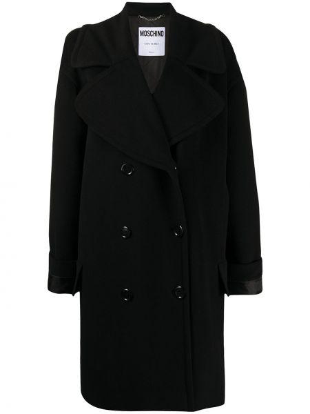 Шерстяное черное пальто двубортное Moschino