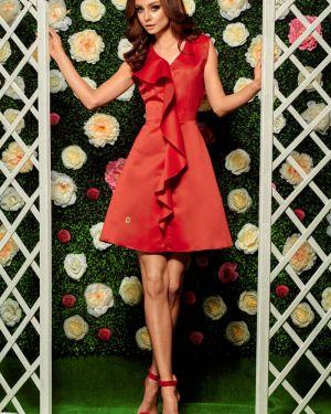 Czerwona sukienka na komunię z falbanami Lemoniade