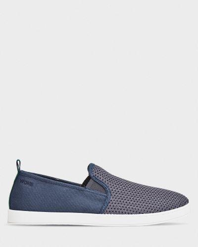 Текстильные слипоны - синие M Wone
