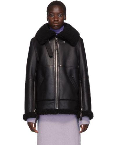 С рукавами черная длинная куртка с воротником Acne Studios