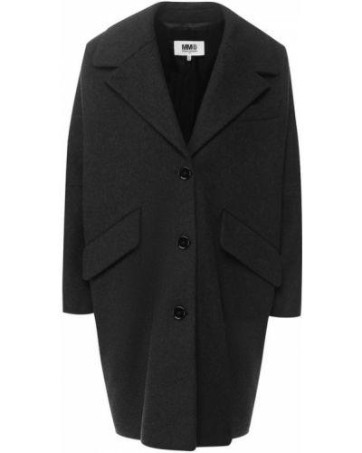 Пальто серое шерстяное Mm6
