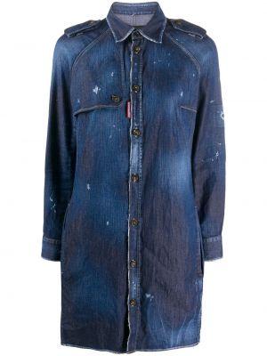 Синее платье макси с воротником на пуговицах Dsquared2