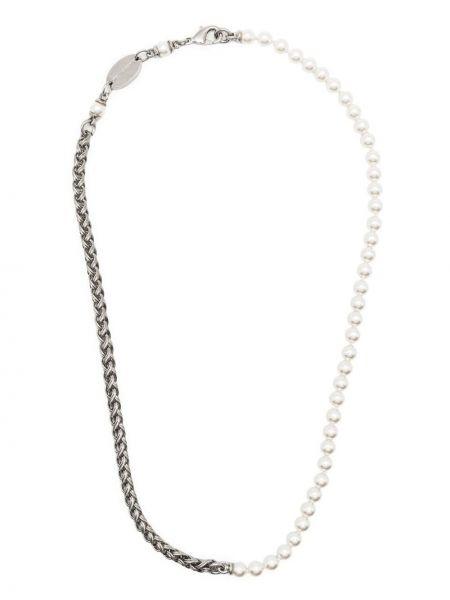 Белая цепочка с подвесками с жемчугом Dsquared2