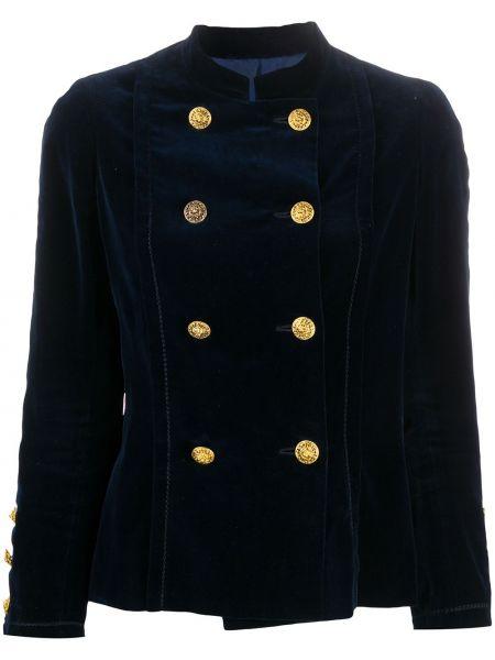 Бархатная ватная синяя длинная куртка Chanel Pre-owned