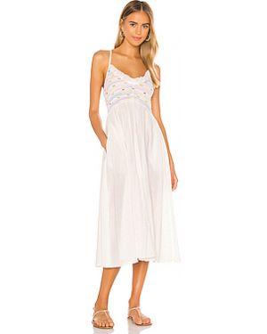 Хлопковое белое платье миди Loveshackfancy