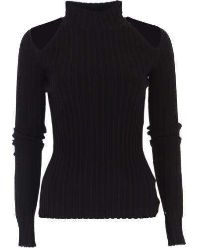 Czarny sweter z wiskozy z długimi rękawami na gumce Helmut Lang