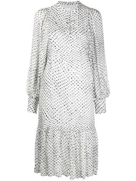Шелковое с рукавами белое платье Lala Berlin