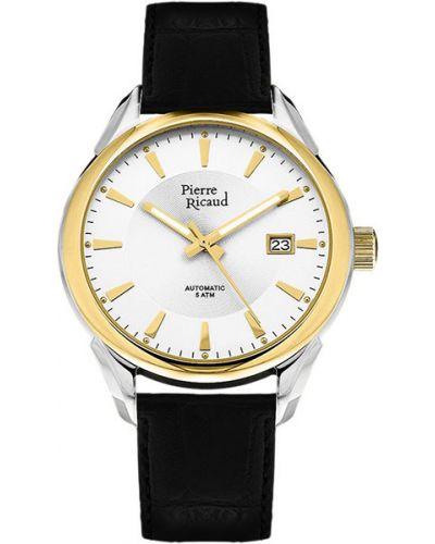 Часы механические водонепроницаемые с кожаным ремешком Pierre Ricaud