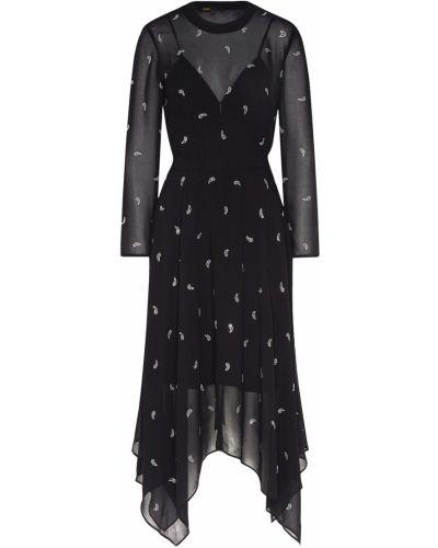 Платье миди на резинке с длинными рукавами Maje
